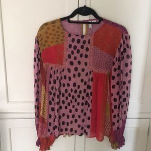 Anthropologie Eclectic Leopard Peasant Blouse